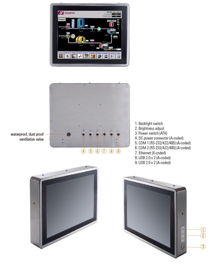 Full IP66 Fanless Multi Touch Stainless Steel Panel Computer