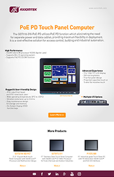 PoE PD Touch Panel Computer